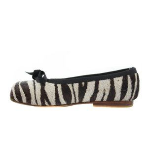 LITTLE RAGGIO Beige & Brown Zebra Print Pony Flats